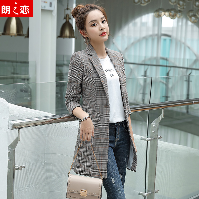 Plaid British style suit coat womens middle length 2019 new spring and autumn chic retro casual net red suit