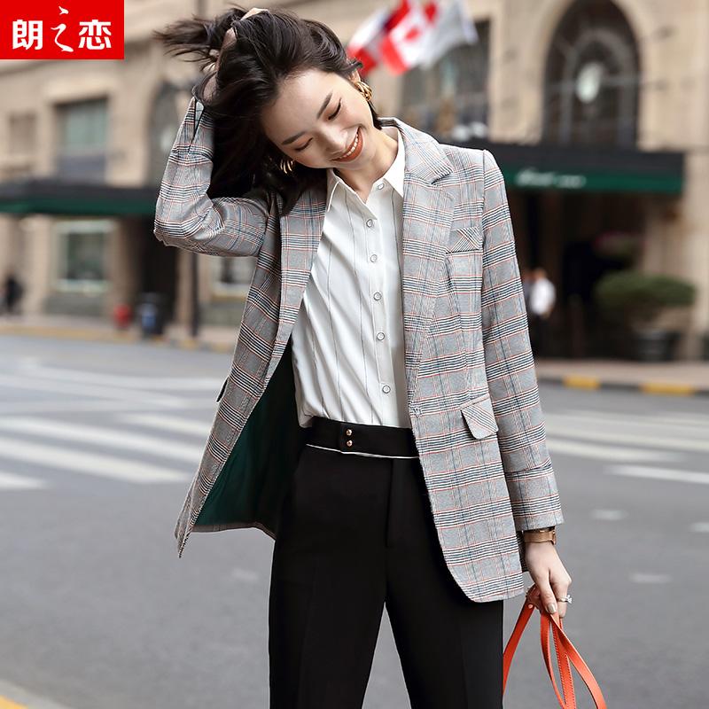 Net red Blazer plaid coat womens autumn dress in 2019 new popular British style loose Korean leisure suit thin