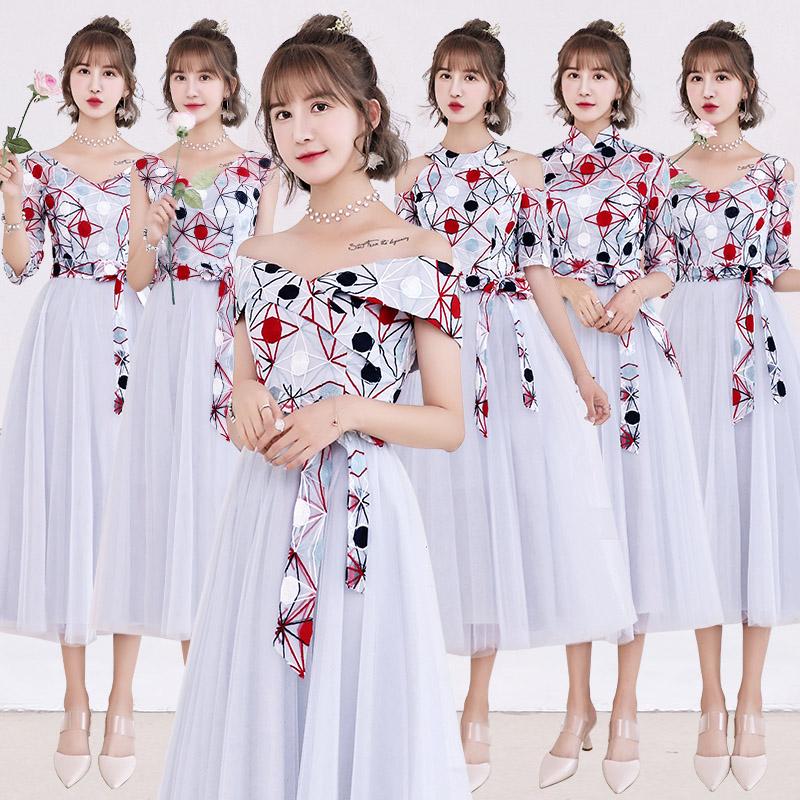 伴娘服新款2018秋季结婚韩版伴娘裙子姐妹团礼服婚礼中长款显瘦女