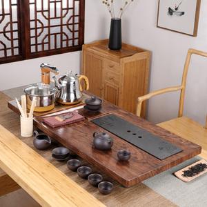 实木茶盘套装乌金石简约家用煮水全自动一体茶海托盘茶台烧水壶图片