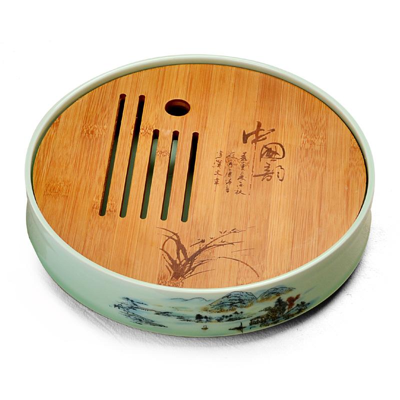 陶瓷小號茶盤迷你儲水式幹泡台 功夫茶具茶托盤家用簡約圓形茶海