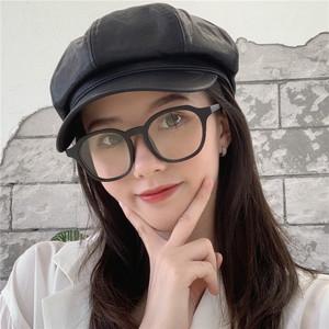 新款磨砂小粗框素颜眼镜框架女潮搭配装饰平光镜可配近视ins圆脸