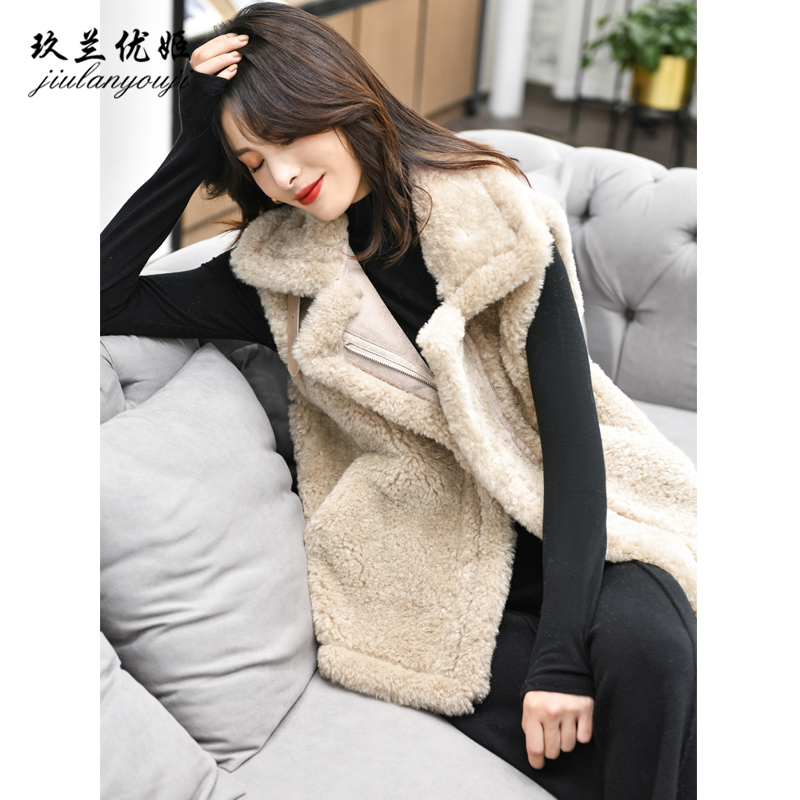Lamb wool vest female fur one-piece 2020 autumn and winter new short outer wear thick lamb wool vest vest jacket