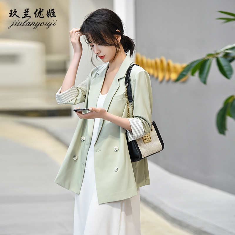 Bean green west clothing jacket female spring and summer thin section chiffon fertile 2021 new Korean version of the loose seven-point sleeve casual suit