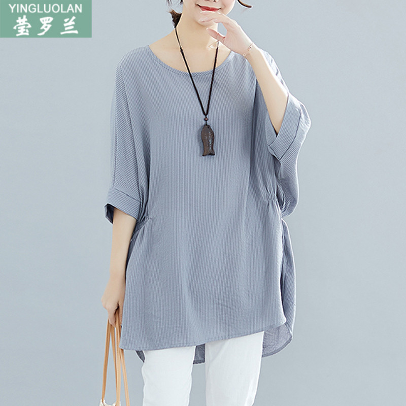 韩版胖妹妹夏装短袖T恤宽松蝙蝠衫200斤大码女装洋气遮肚显瘦上衣