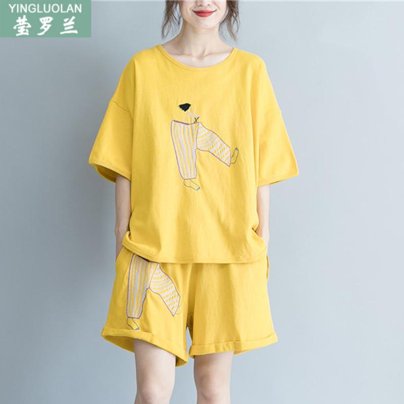 200斤胖mm夏装短袖T恤+短裤套装特大码女装时髦洋气运动两件套潮