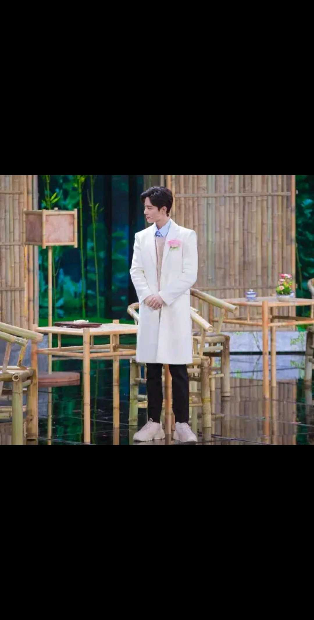 2020 Spring Festival Gala Xiao Zhan same clothes spring dress white suit couple mid long slim single breasted coat trendy man
