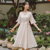 书瑞文艺法式少女复古裙夏季仙女超仙森女系小众甜美绑带连衣裙