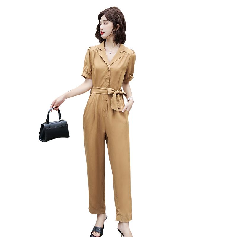 Summer new style Tencel hemp Jumpsuit fashion temperament professional personality commuter short sleeve Jumpsuit pants women trend