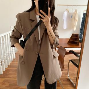 冰茶家咖色西装外套女韩版设计感英伦风休闲上衣复古港风网红西服