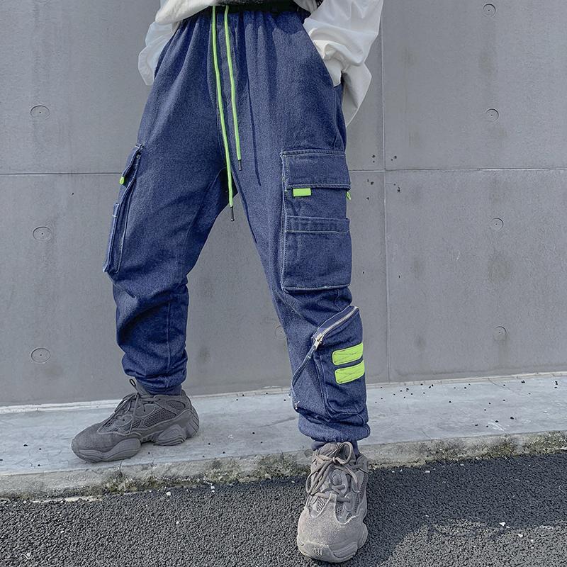Moderning national fashion zipper pocket drawstring loose corset denim overalls mens hip hop washed Leggings
