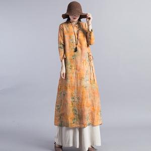 2020春季新款纯亚麻包边连衣裙复古中国风印花立领珠扣大码裙子女