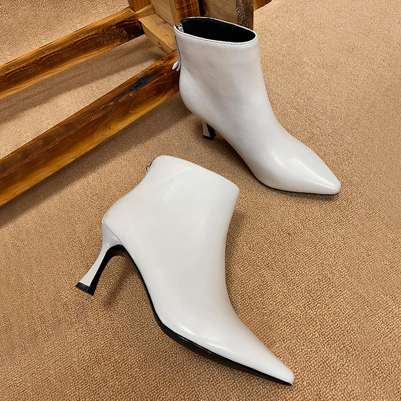 Leather short boots womens 2021 autumn new middle heel European and American thin heel high heel Beige pointed Ankle Boots