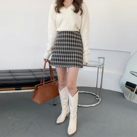 小香风千鸟格格子短裙女秋冬季2020年新款时尚毛呢半身裙冬天外穿
