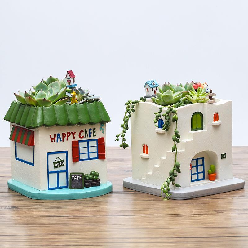 创意复古地中海田园小房子多肉花盆桌面微景观装饰摆件植物小花器,可领取5元天猫优惠券