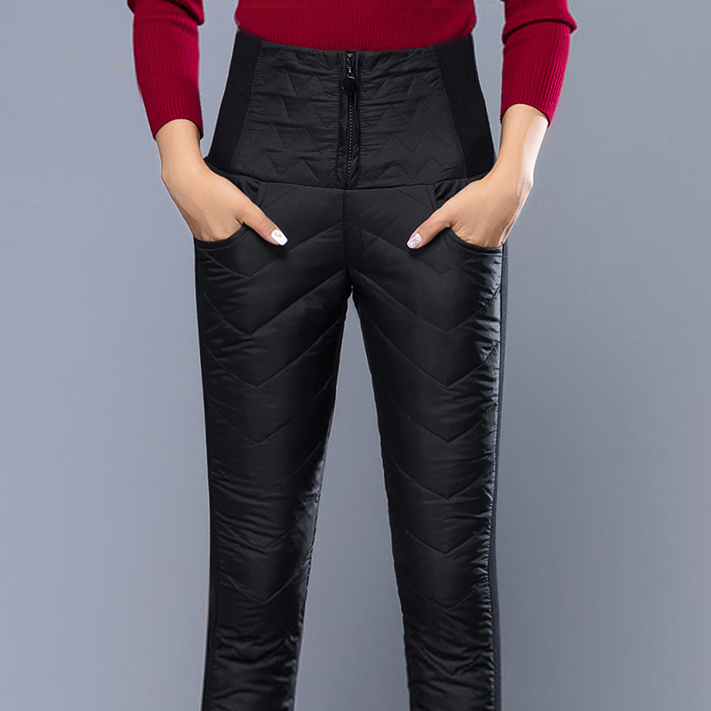 Womens down pants: high waist, thickened, slim, double-sided, autumn and winter womens warm down cotton pencil pants, large size