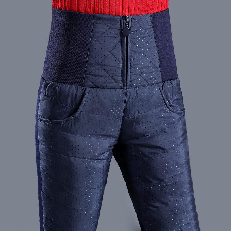 Womens down pants wear high waist and thin womens elastic slim feet thickened white duck down winter warm cotton pants