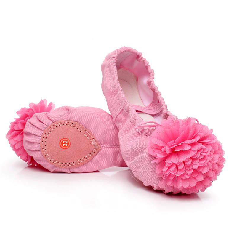 幼儿童舞蹈鞋软底女童舞蹈鞋花朵芭蕾舞鞋表演跳舞鞋猫爪鞋练功鞋