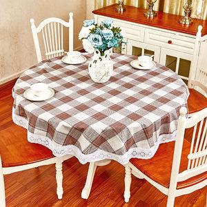 直径1.5米格子圆桌桌布欧式餐桌布防水防油防烫免洗饭店餐厅台布
