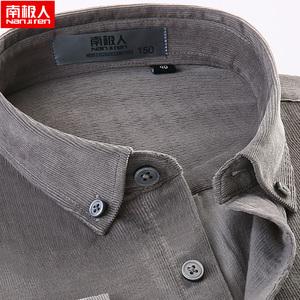 南极人男士长袖衬衫春秋季纯棉灯芯绒灰色男装中年休闲男条绒衬衣