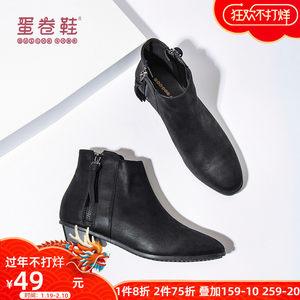 2019春秋季新款短靴子女灰色单靴