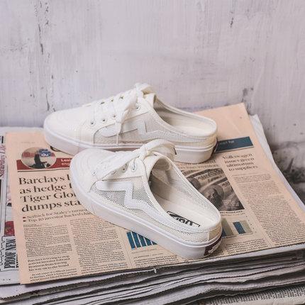 无后跟帆布鞋女韩版2019夏季新款百搭透气半拖鞋学生一脚蹬懒人鞋