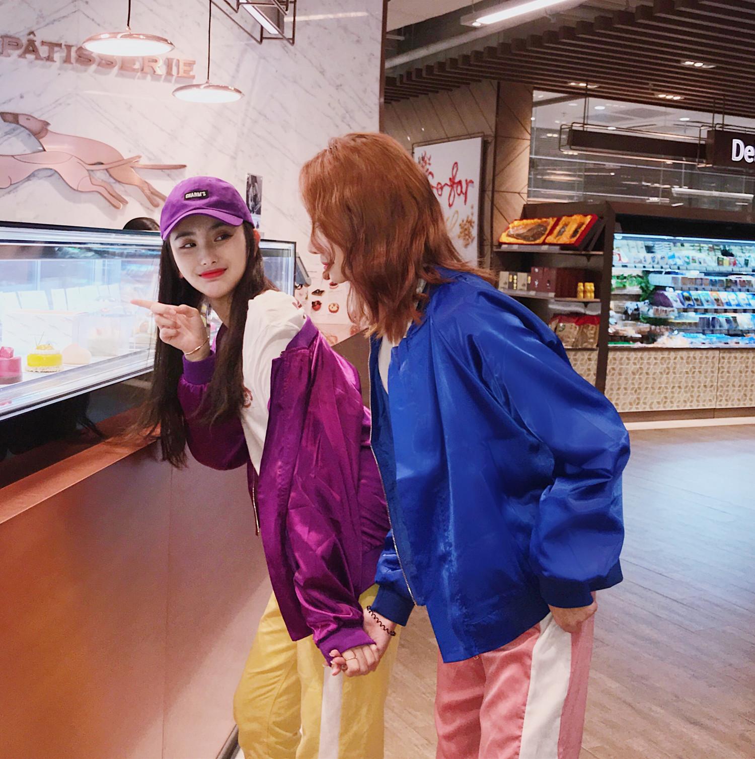 实拍 秋装新款闺蜜紫色短款宽松百搭缎面夹克棒球服短外套