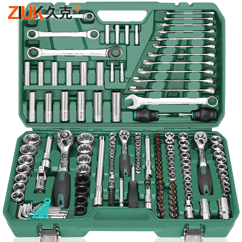 久克修车套筒棘轮扳手套装汽修套管维修工具万能汽车多功能工具箱
