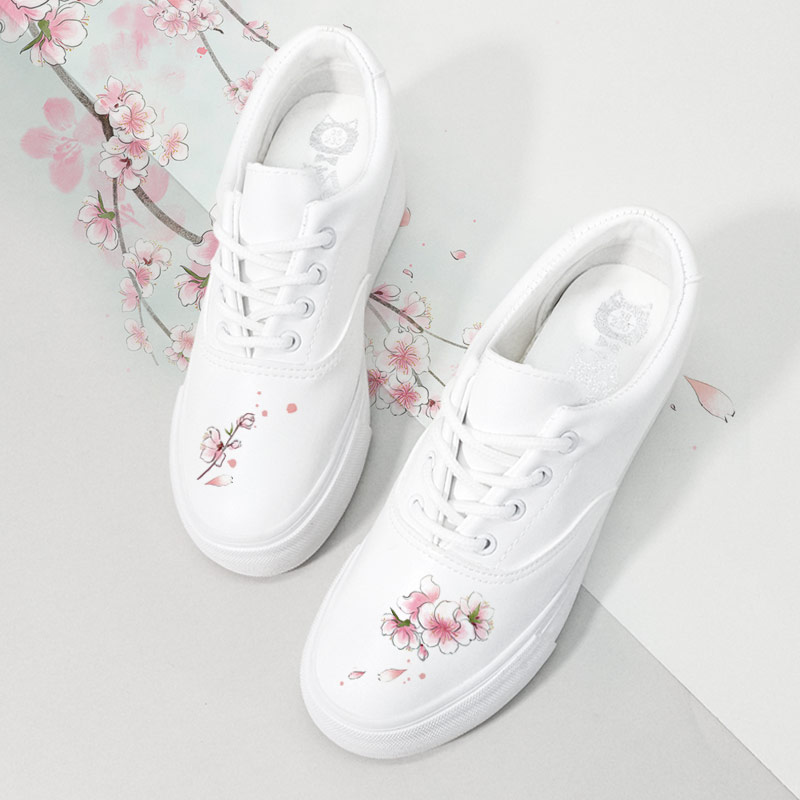 中国风女鞋古风秀气小白鞋女加绒内增高厚底休闲鞋学生百搭显瘦
