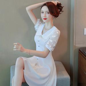 白色娃娃领小香风连衣裙女夏2021新款蕾丝网纱小个子仙女