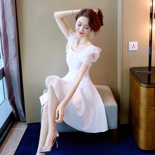 仙女裙子超仙短款女2020年新款夏季气质小个子白色蕾丝礼服连衣裙