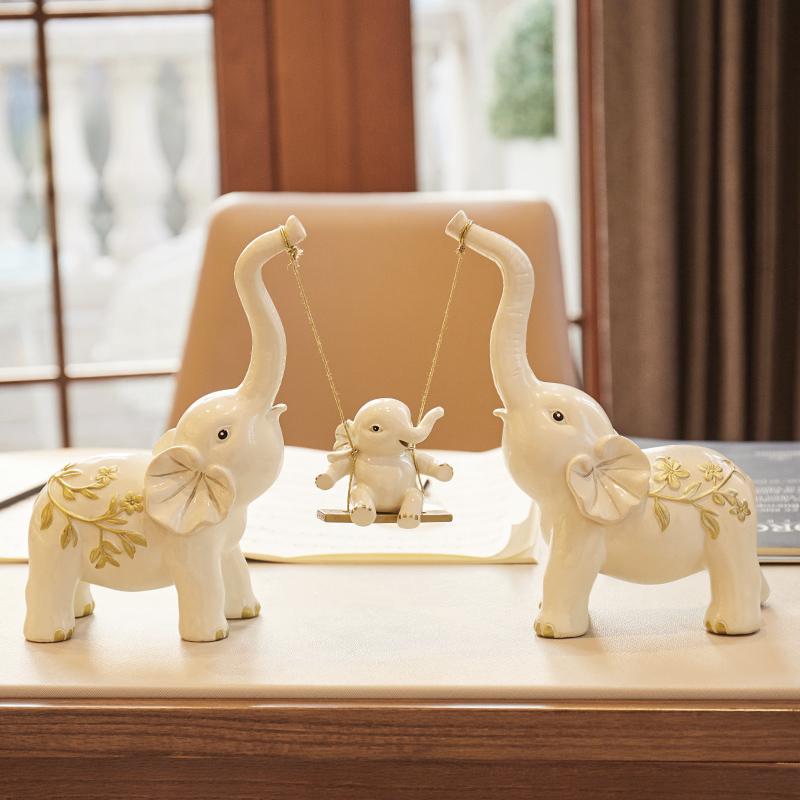 创意结婚礼物闺蜜新婚乔迁新居礼品客厅电视柜大象摆件家居装饰品