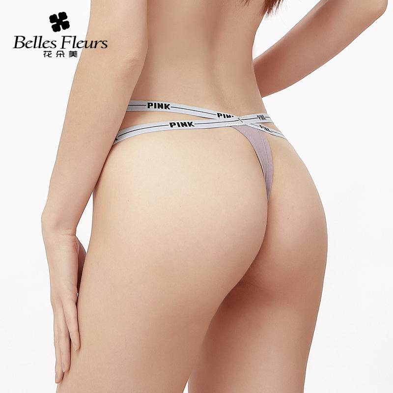 花朵美丁字裤女 性感运动风棉质低腰内裤 欧美细带无痕火辣T裤女