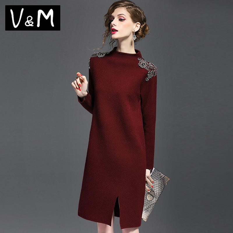 2020秋冬季新款洋气订珠长袖毛衣女气质中长款加厚针织连衣裙欧货