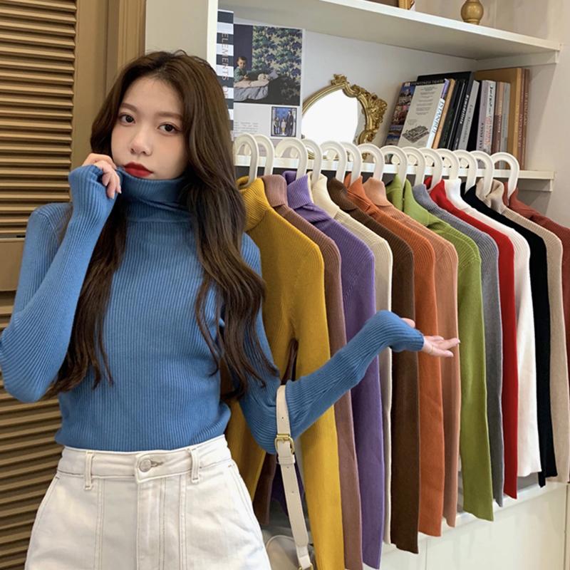 高领长袖针织衫女装春秋冬季2020新款毛衣纯色打底衫内搭薄款上衣