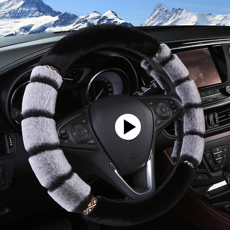 汽车方向盘套冬季长毛绒男女通用型车把套兔毛绒韩国可爱速腾朗逸
