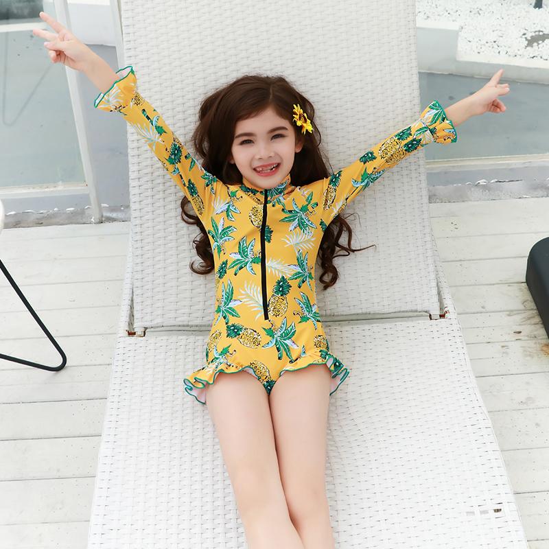 长袖女孩连体防晒可爱中大童游泳衣