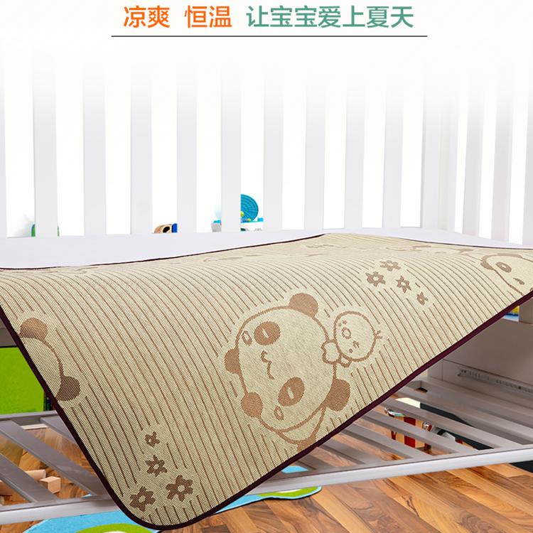 寶寶新生嬰兒涼席枕頭幼兒園兒童床席子亞麻冰絲透氣夏