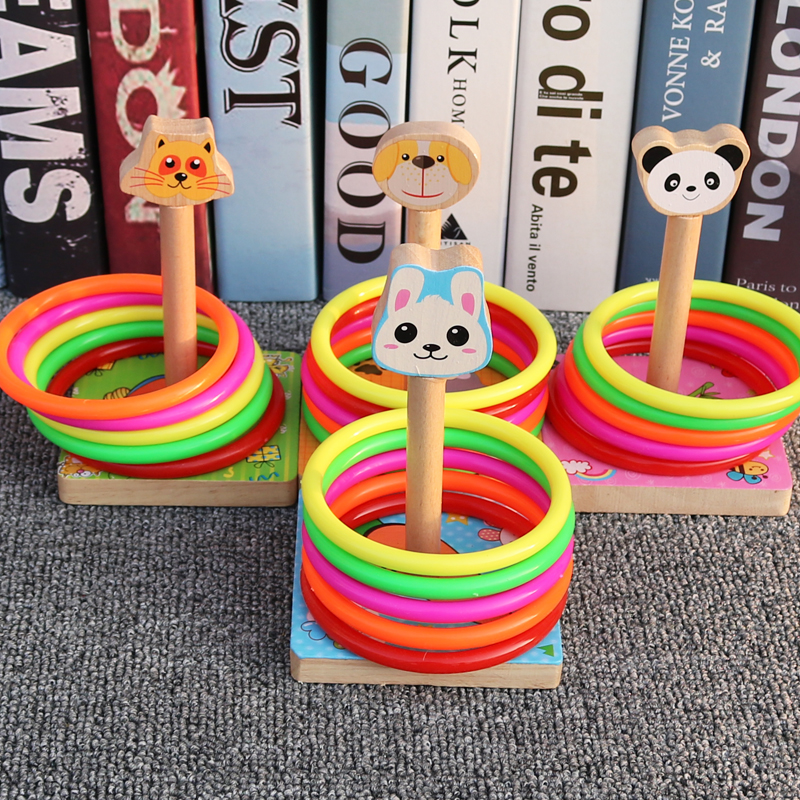 Wooden toy ring throwing game for children aged 3-6