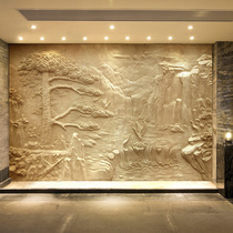 Professional custom-made artificial sandstone FRP imitation copper relief background wall sand carving relief decorative painting wall hanging