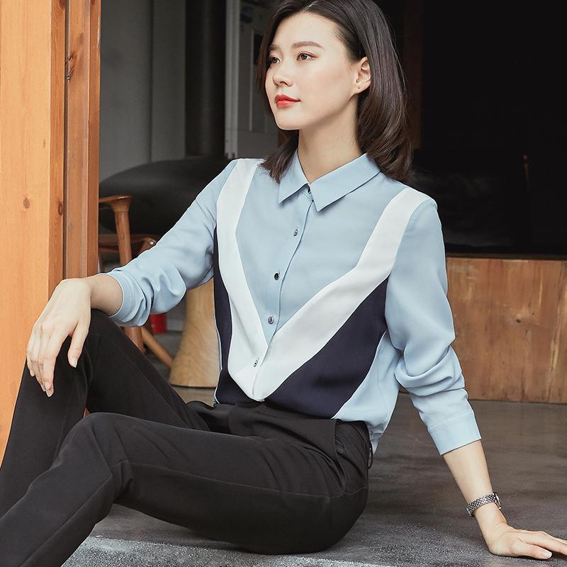 衬衫女长袖2020春秋新款心机上衣设计感小众职业大码休闲雪纺衬衣