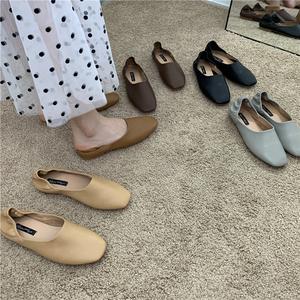 平底鞋单鞋女鞋子2021年春夏新款百搭大码单鞋半拖奶奶鞋穆勒鞋