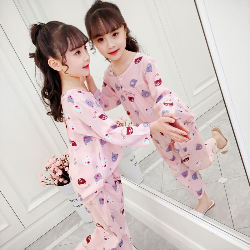 儿童睡衣套装春秋夏季薄款女童绵绸棉绸长袖小孩中大童宝宝家居服