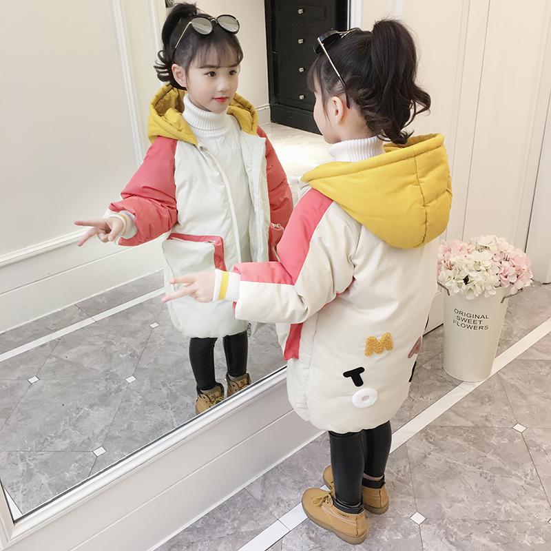 女童棉衣2018新款洋气加厚棉服外套中长款冬装女孩中大童儿童棉袄