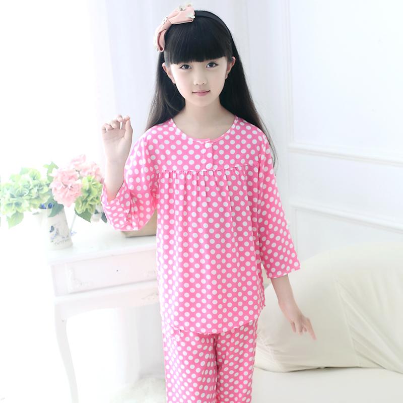儿童睡衣套装夏季女童绵绸空调家居服纯棉绸长袖小女孩中大童薄款