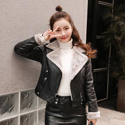 皮衣女短款韩版修身显瘦加绒加厚小外套pu机车黑色皮夹克春秋冬季