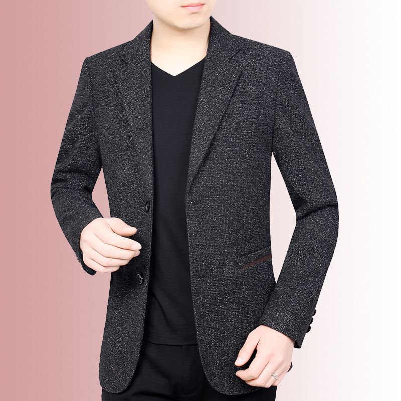 Spring and autumn mens casual suit coat wool top middle aged slim woolen suit