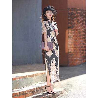Bone-eating lace cheongsam women's long style elegant temperament, retro and elegant young style improved version of the national style girl dress