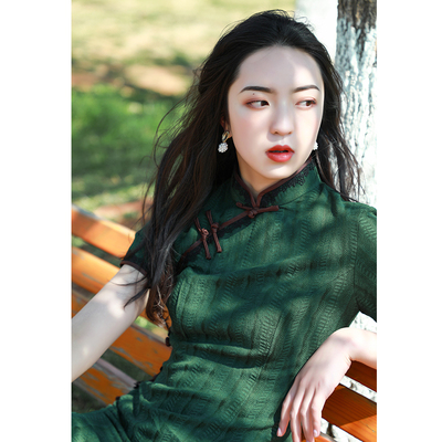 Old Shanghai cheongsam retro Republic of China cotton and linen women's dress 2021 new and improved Chinese style young girl dress