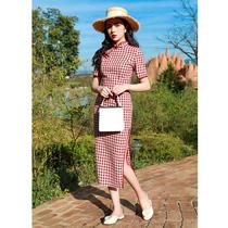复古民国风红色格子旗袍女老上海洋装改良文艺少女年轻款长款女装